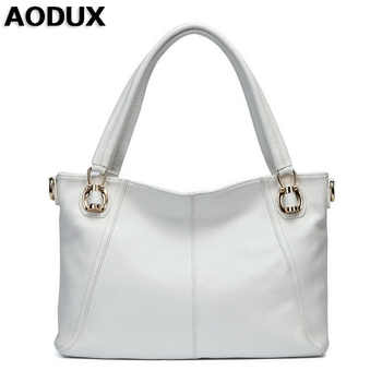 AODUX Fast Shipping 100% Genuine Cow Leather Women Shoulder Bags Handbag Messenger Crossbody Female Cowhide Bag White Color - DISCOUNT ITEM  55% OFF All Category