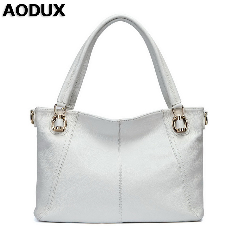 AODUX  Free Shipping Genuine Leather Women Shoulder Bags Handbag Messenger Crossbody Female Bag Black/White/Brown/Blue Color genuine leather women shoulder shopping bags female crossbody handbag cow leather ladies bag free shipping