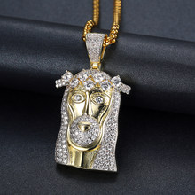 Bling Bling Iced Out Gold Color Masked Jesus head Pendant Necklace Crystal Jesus Piece Jewelry(China)