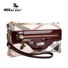 FERAL CAT Messenger Bag Women Handbag Cross body Leather Plaid New Fashion Woman Crossbody Female PVC Sac a Main
