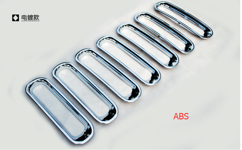 For Jeep Wrangler 2007-2015 / ABS Front Insert Race Grille Cover Trim 7 pcs / set