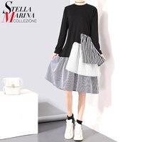 Women Elegant Summer Dress O Neck Long Sleeves Black Gray Patchwork Striped Casual Ladies Midi Dress