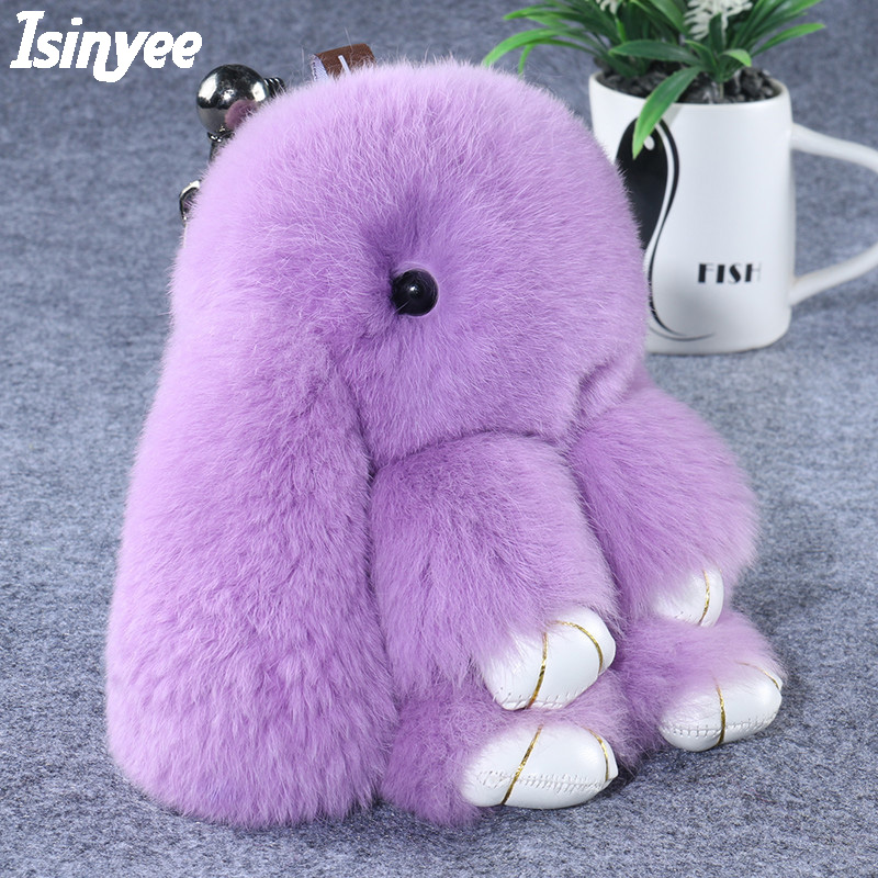 ISINYEE Cute Pluff Bunny Rabbit Keychain Lovely Panda Bear Animal Key Chains Women Girls Bag Car Pom Pom Pompom Fake Fur Keyring