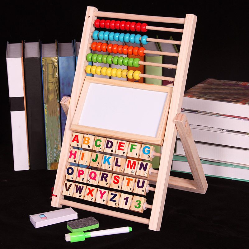 Multifunction Abacus Learning Stand Wooden Montessori Toys Counting Cognition Board Early Educational Math Toy For Children Gift(China)