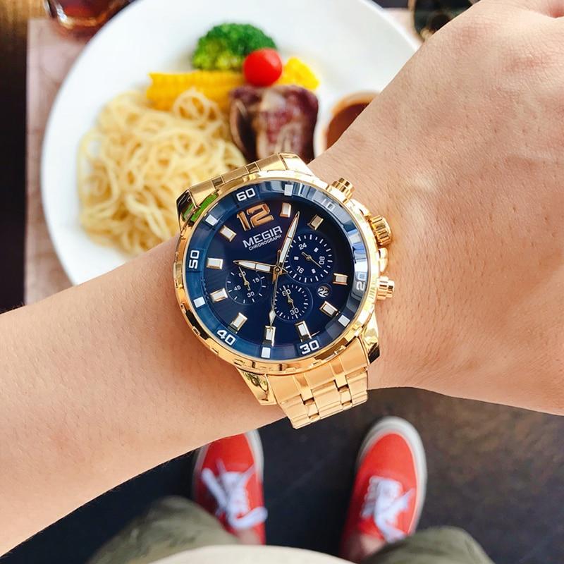 MEGIR Top Brand Luxury Fashion Business Quartz Wrist