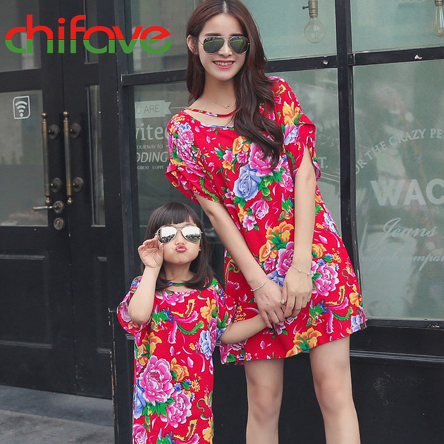Chifave 2016 Nueva Madre Hija Juego Ropa de Vestir de Manga Corta Floral Del Estilo Chino Del O-cuello de Madre E Hija Vestido de 2 Colores