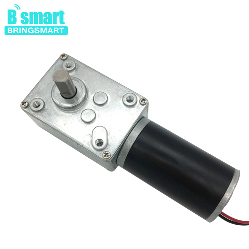 Bringsmart A58SW31ZY High Torque Worm Geared Motor DC 12V 24V DC Motor Mini Self-lock Gearbox Reversible for DIY Curtain MachineBringsmart A58SW31ZY High Torque Worm Geared Motor DC 12V 24V DC Motor Mini Self-lock Gearbox Reversible for DIY Curtain Machine