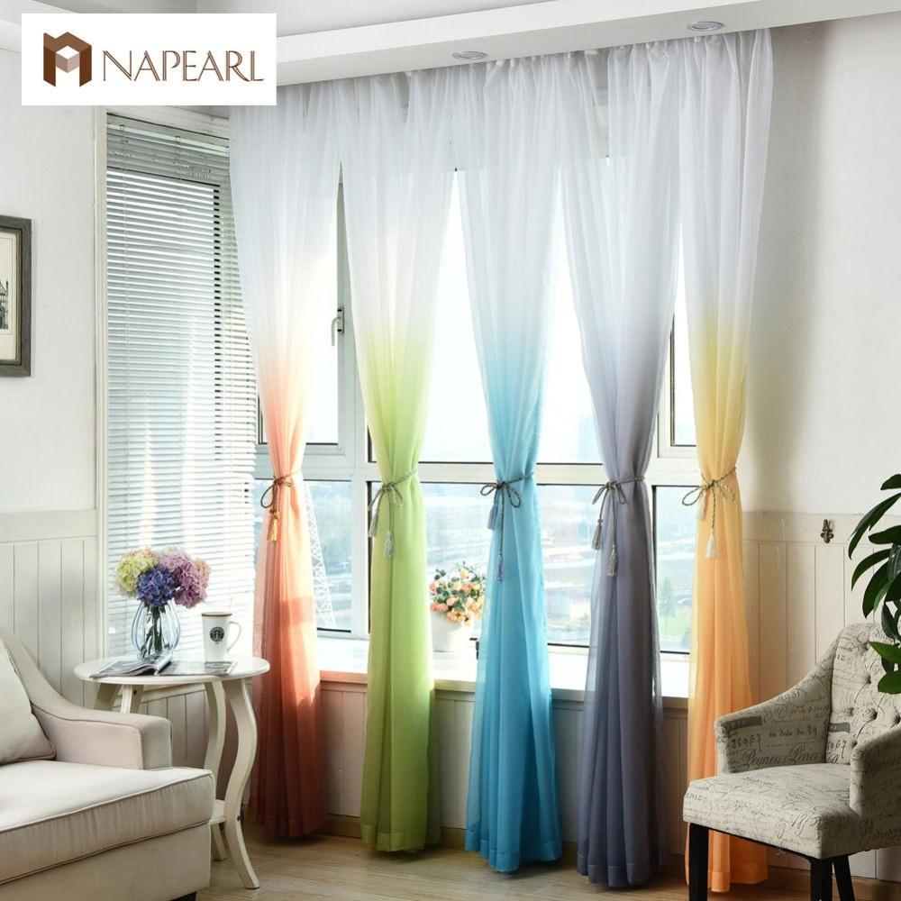 Voile sheer curtain rainbow color tulle fabrics window curtain ready made door balcony kitchen modern curtain