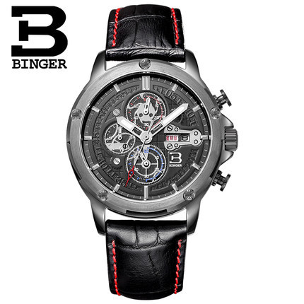 Brand Binger Birthday Gifts Luxury Switzerland Fashion Casual Men Watches Leather Straps Sports Wristwatches PU Watch Wholesale free drop shipping 2017 newest europe hot sales fashion brand gt watch high quality men women gifts silicone sports wristwatch