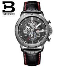 Brand Binger Birthday Gifts Luxury Switzerland Fashion Casual Men Watches Leather Straps Sports Wristwatches PU Watch