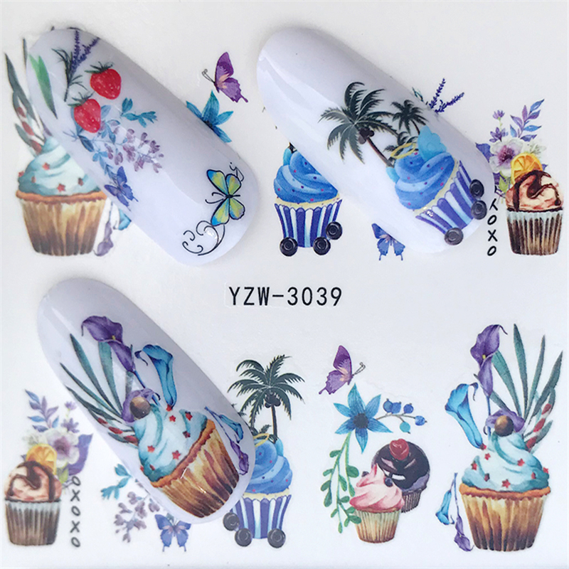 1pcs Rose & Flower Summer Image Nail Decals Art Colorful Wraps For Nail Sticker Water Tips