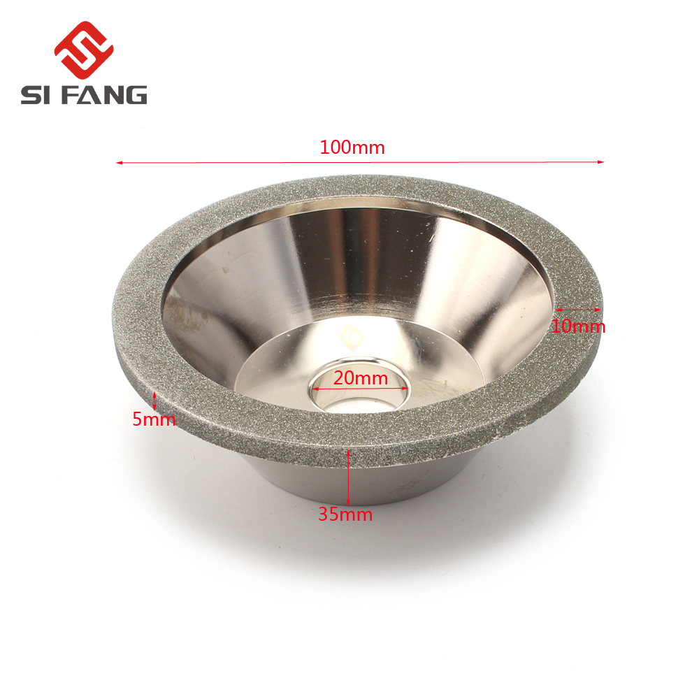 100mm Electroplating Diamond Grinding Wheel Cup grinding circles for alloy Milling Cutter Tool Sharpener Grinder Accessories 100mm od 20mm hole 35mm thickness hardware parts diamond grinding wheel 240