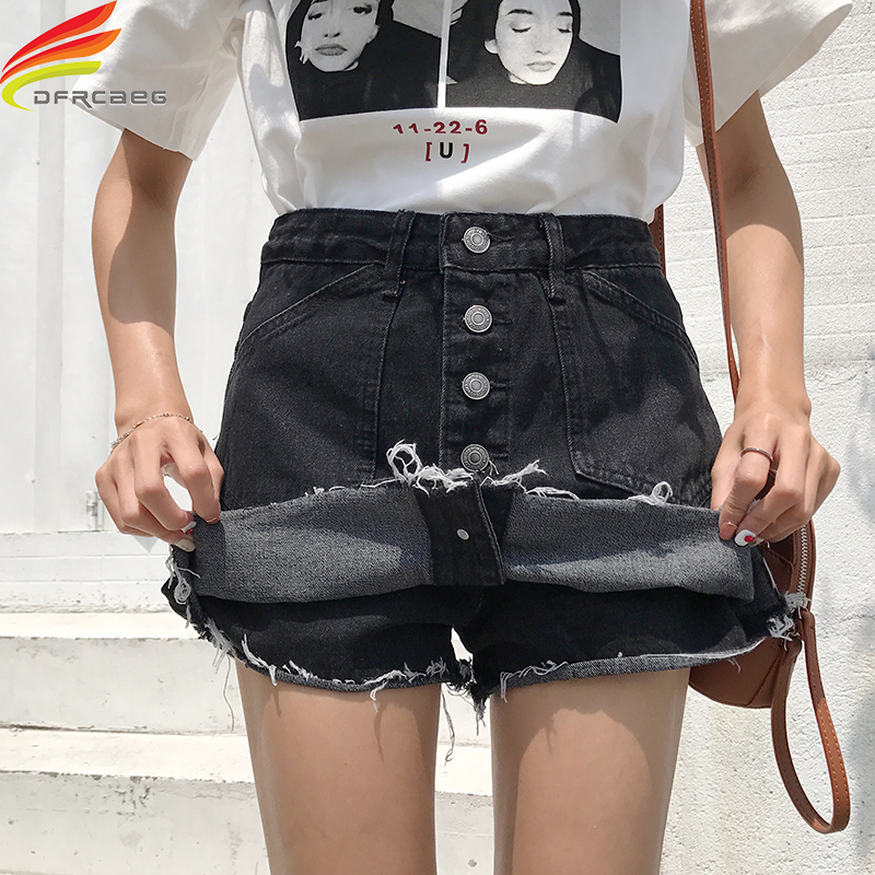 Summer Denim Shorts For Women 2019 High Waist Streetwear Single Buttons Black Short Slim Denim Cotton Solid Jeans Shorts Skirts