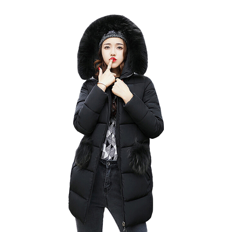 2018 New Hot Fashion Women   Parkas   Winter Long Sleeve Zipper Fur Collar Hood Outwear Thick Winter Women Coat CC417