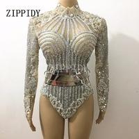 Silver Glisten Rhinestones Long Sleeves Leotard Belt Outfit Dj Singer Performance Bar Party Celebrate Luxurious Costume