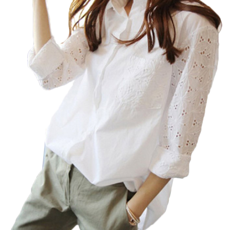 Summer New 2018 Chiffon Cotton Women's Blouse Fold Hollow Out Hole White Top Plus Size S-5XL 9/10 Sleeves Office Lady Blouses
