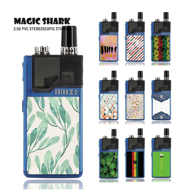 Magic Shark 2019 Simple PVC China Painting Rick and Morty Leaf Flower Case Sticker Back Film Skin for Lost Vape Orion 081-090