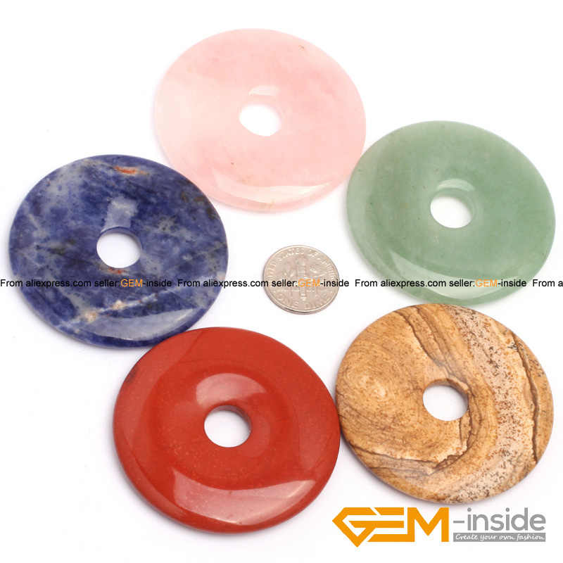 Natural Assorted Stones Donut Ring Beads For Earring Necklace Jewelry Making 1 Piece Rose Quartzs Jaspers Jades Fluorite