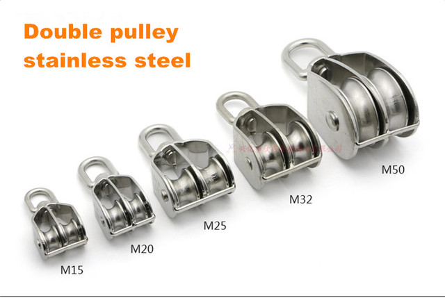 2pcs/lot Stainless steel double pulley M15 M20 M25 M32 M50