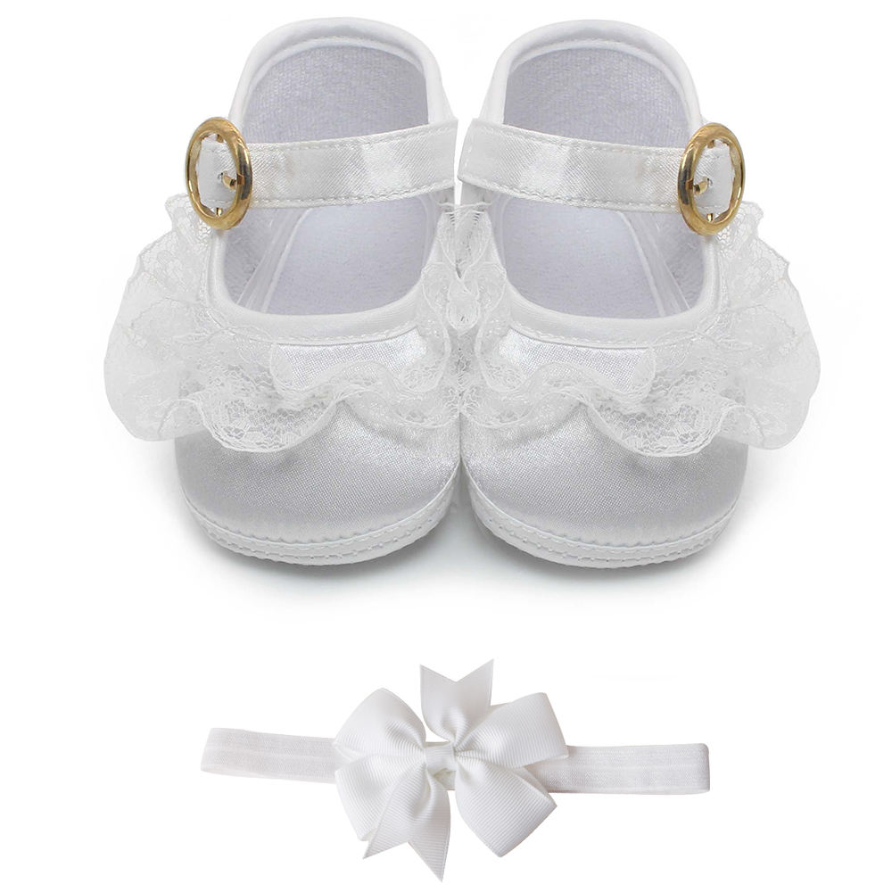 Delebao Pure White Christening Baby Sko Spædbarn Toddler Dop Sko For 0-1 År First Walkers Engros
