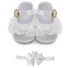 Delebao Pure White Christening Baby Shoes Infant Toddler Bap