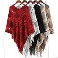 Ladychili женская Одежда Весна Осень Повседневная Batwing Негабаритных Пуловер Вязать Свитер Выдалбливают Часы Wrap С Кисточкой SF04