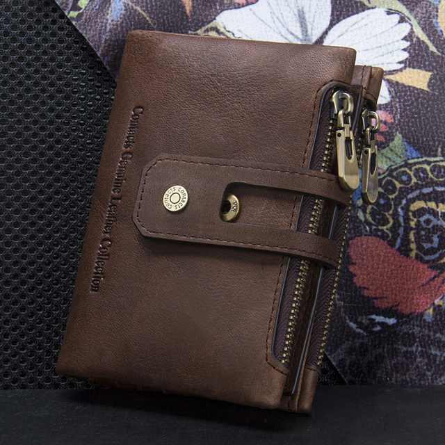 CONTACT'S Genuine Leather Men Wallet Small Men Walet Zipper&Hasp Male Portomonee Short Coin Purse Brand Perse Carteira For Rfid 4