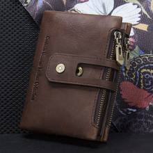 CONTACT'S Genuine Leather Men Wallet Small Men Walet Zipper&Hasp Male Portomonee Short Coin Purse Brand Perse Carteira For Rfid
