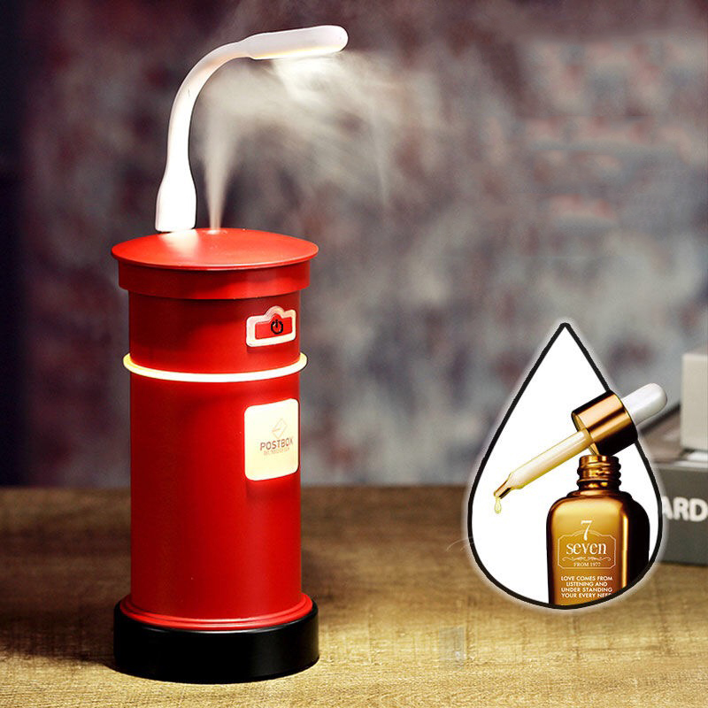 3 In 1 Postbox Design Humidifier USB Electric Aroma Essential Oil Diffuser With Mini Fan Table Lamp