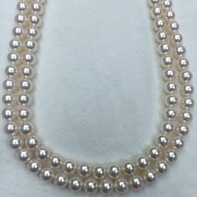 "3"" топ класса AAAAA японский Akoya культивированный жемчуг 7 мм, 925 Серебро Белое золото ожерелье"