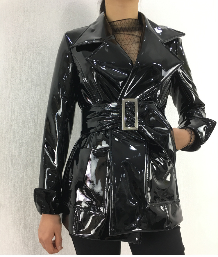 Fashion brand Glossy patent   leather   jackets pu   leather   jacket female street style was thin long   leather   jacket wq1161 dropship