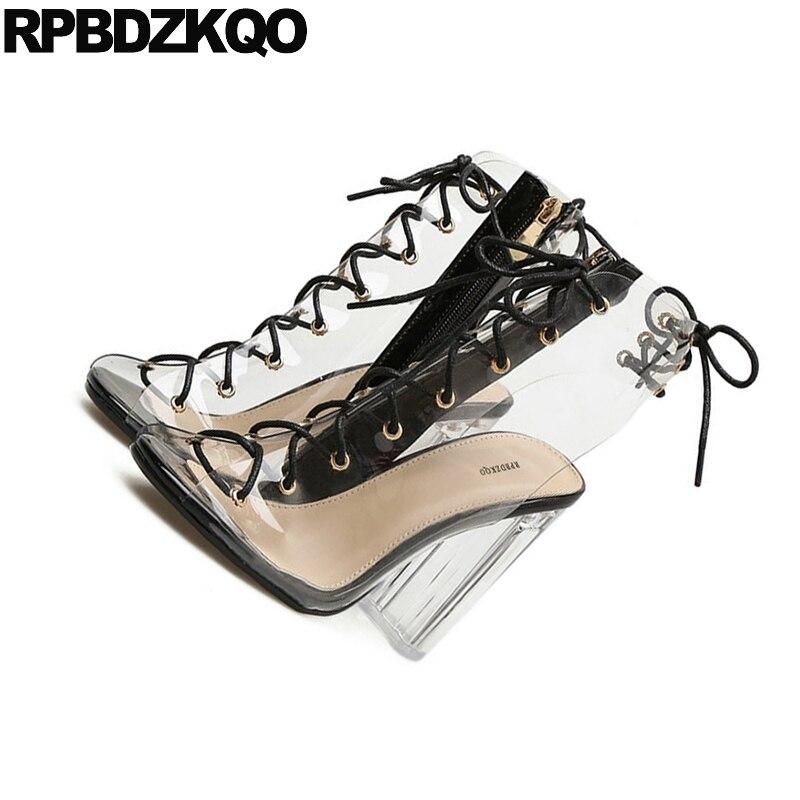black Transparent 1 2 Sandales Chaussures Cheville apricot 1 Taille Black Talons Grande Marque Luxe Femmes apricot Hauts 10 Danseuse Slingback Chunky Bout À Effacer 2 Pvc De Exotique Bottes Peep ZPXuOTki