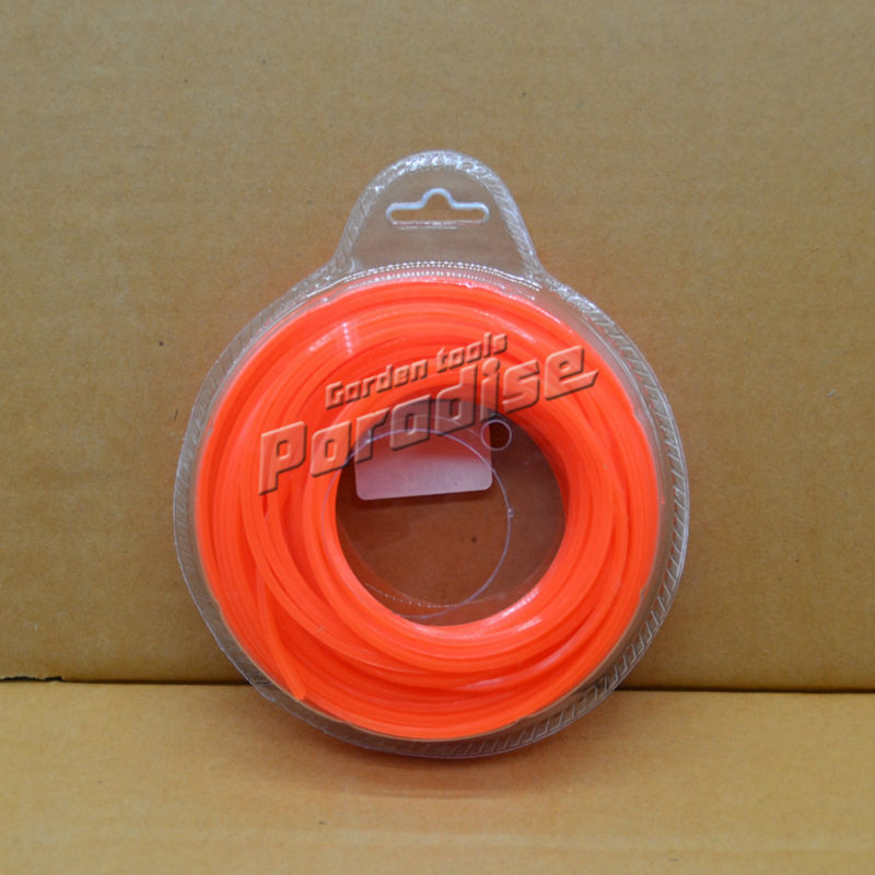 0.120 3.0mm Diameter 15M Length Square Nylon Line for Brush Cutter Grass Trimmer Line with Orange Color mini garden nylon grass trimmer line light purple 15m