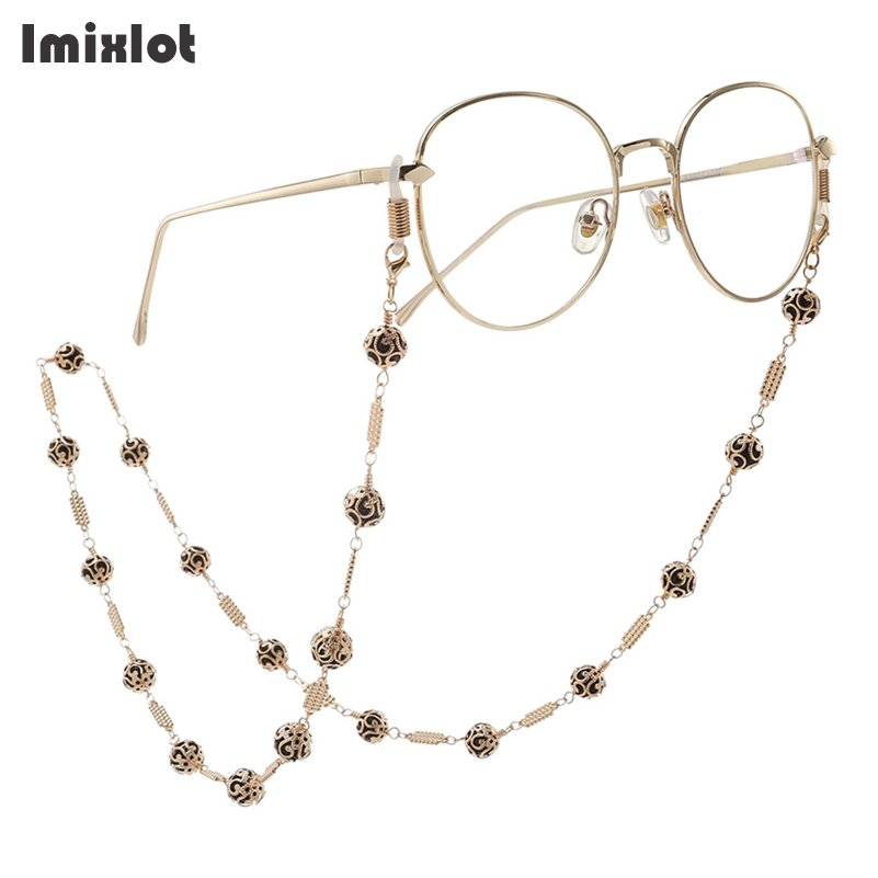 Fashion Hollow Ball Charm Gold Metal Eyeglass Chains Eyewears Sunglasses Reading Glasses Chain Cord Holder Neck Strap Rope