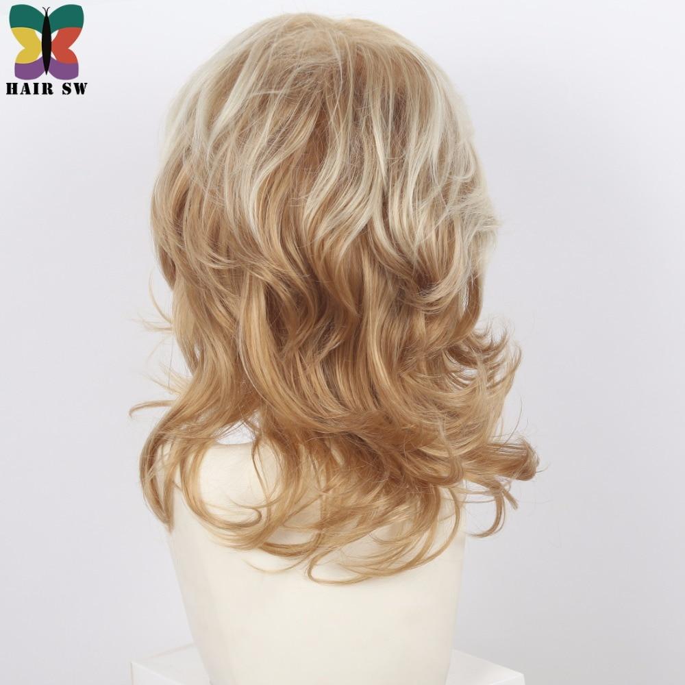 Kvinnors Medium Längd Shag Fluffy Curly Synthetic Wig Light Röd - Syntetiskt hår - Foto 3