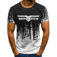 Мужская футболка для фитнеса с принтом Rammstein камуфляжная футболка с коротким рукавом рубашка с круглым вырезом модные повседневные топы