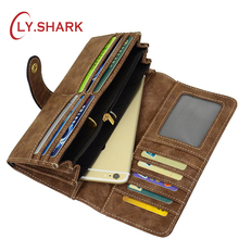 LY。サメ革女性財布財布女性高級ブランド有名なクラッチマネーバッグカードホルダーコイン電話財布ロング黒財布