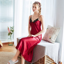 Women Silk Sleeping Dress Sleepwear Womens Night Gowns Satin 9717