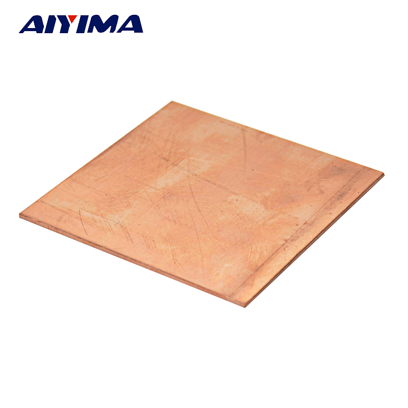 цены AIYIMA 1pc 99.9% Pure Copper Cu Metal Sheet Plate 2mm*100mm*100mm