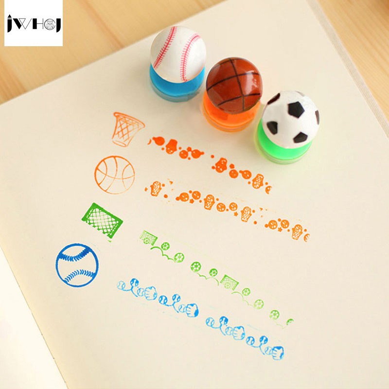 JWHCJ football basketball baseball Stamp Kids DIY Handmade Scrapbook Photo Album students Stamps Arts,Crafts gifts Free shipping jwhcj flowers stamp children diy handmade scrapbook photo album students stamps diary decor forniture teacher seal kids toy gift