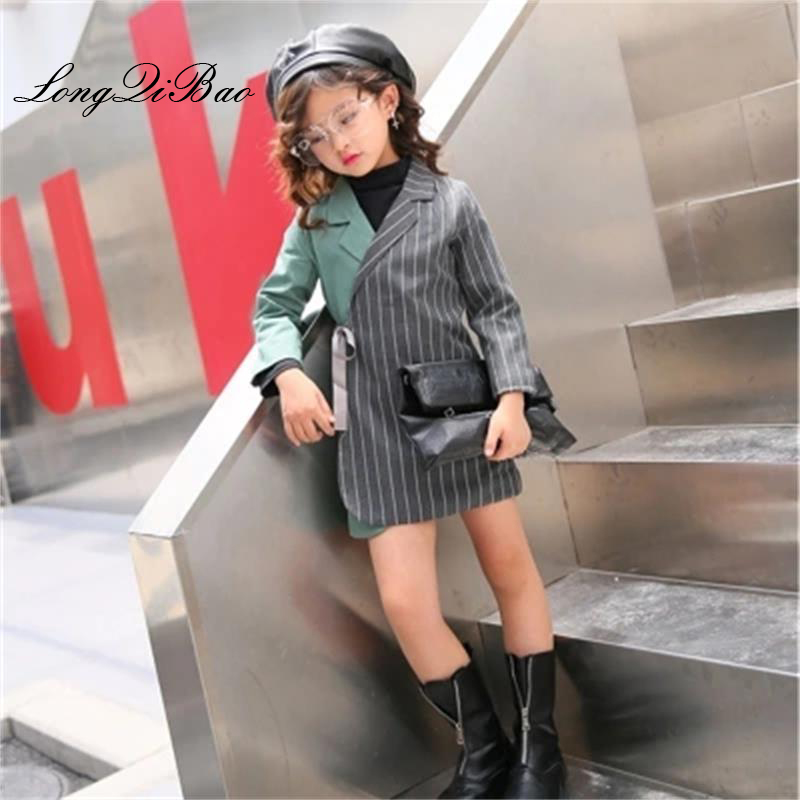 Baby girl cotton small suit 2019 spring quality new Korean fashion personality children stitching contrast color striped coatBaby girl cotton small suit 2019 spring quality new Korean fashion personality children stitching contrast color striped coat