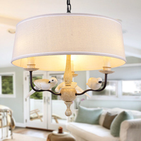 Vintage Bird Pendant Light Resin Birds Dia50cm White Fabric Suspension Lamp For Room Atmosphere Decorative Pendant Lamps F076