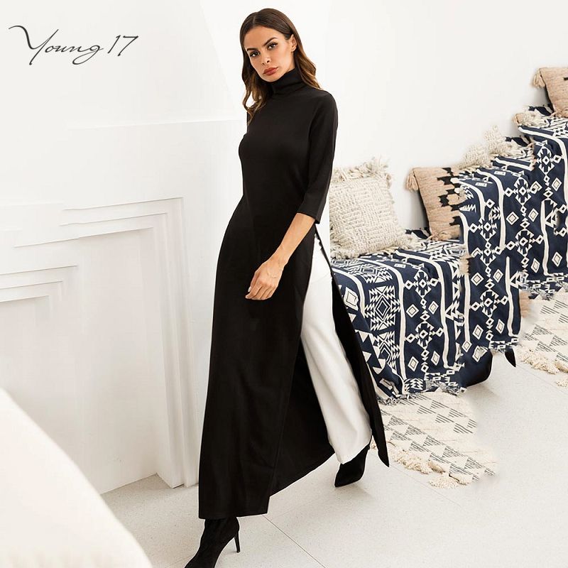 Young17 Women Party Work Plus Size Elastic Asymmetrical Black Maxi Dress Autumn Winter Stretchy High Split Extra Long Dresses