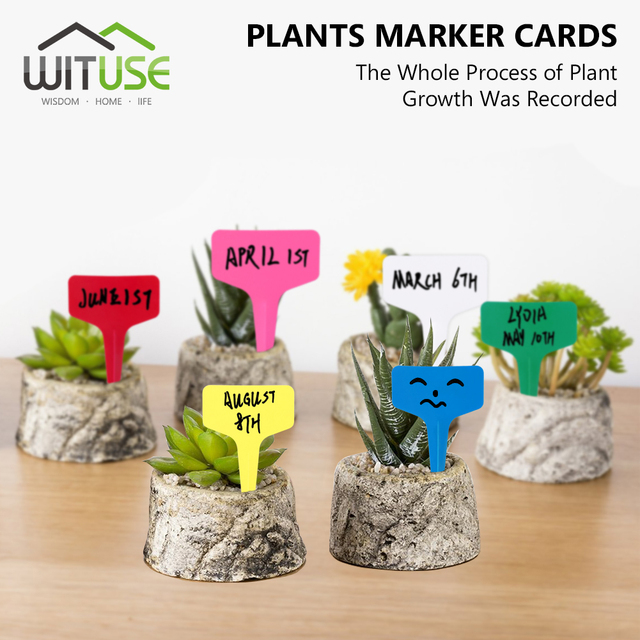 Wituse 50pcs T Type Stick Multi Color Garden Tags Ornaments Plant Flower Label Nursery