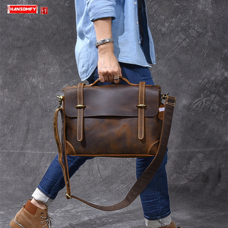 British Wind Crazy Horse Leather Men Handbag First Layer Leather 13 Inch Laptop Briefcase Shoulder Slung Small Crossbody Bags