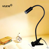 Free Shipping Led Book Light 3W Led Spot Lamp With Clip On Off Flexible Soft Holder