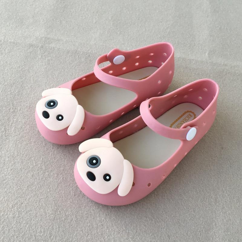 Summer 2018New Childrens Mimi Melissa Cute Cartoon Puppies Girls Infante Children Air-tight Jelly Shoes
