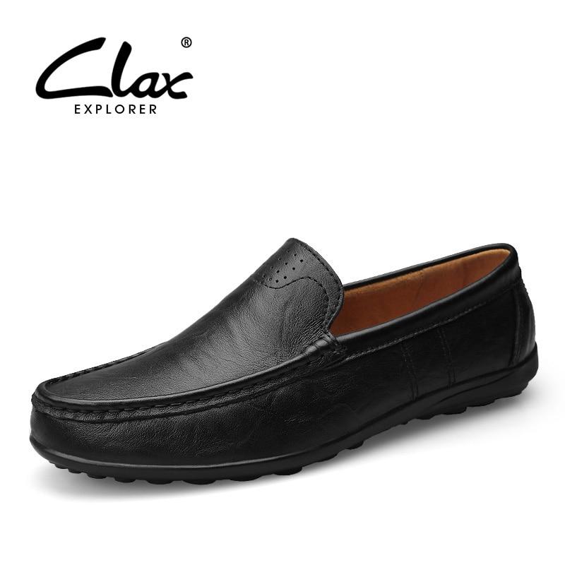 Clax Men Leather Loafers Designer 2017 Men's Moccasin Genuine Leather Black Male Dress Shoe Slipony Classic Luxury Brand