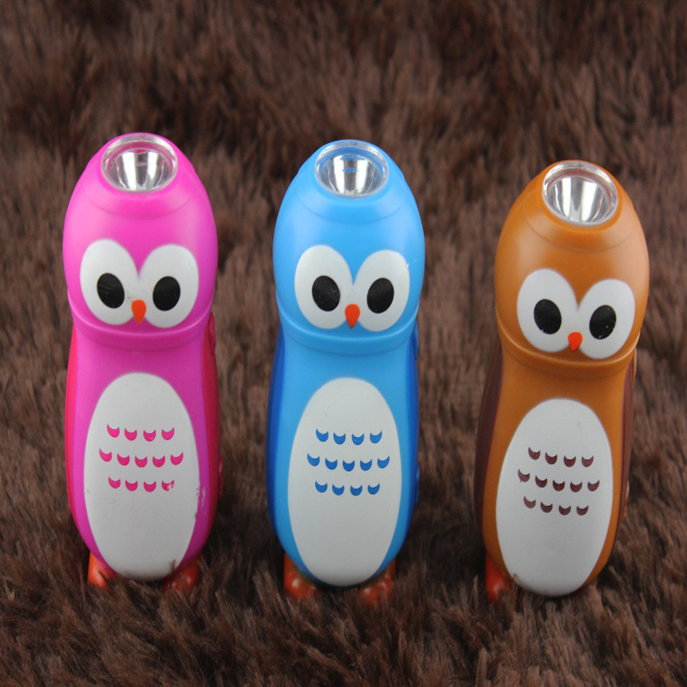 FREE SHIPPING 50pcs/lot LED Cartoon OWL Led Key Chain Whole Sale mini flashlights For Promotional Gifts