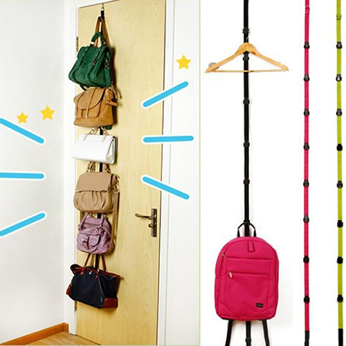 Fashion Adjustable Over Door Straps Hanger Hat Bag Coat Clothes Rack Organizer